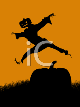 Royalty Free Clipart Image of a Jumping Jack-o-Lantern Scarecrow