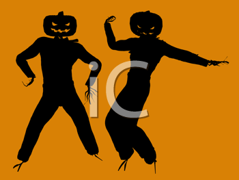 Royalty Free Clipart Image of Two Jack-o-Lantern Scarecrows
