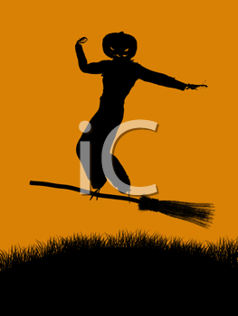Royalty Free Clipart Image of a Scarecrow on a Broomstick