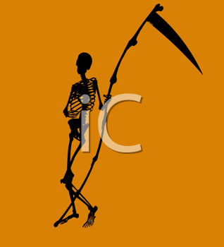 Royalty Free Clipart Image of a Skeleton and Scythe