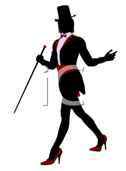 Royalty Free Clipart Image of a Female Magician