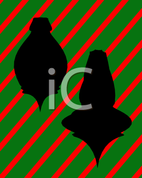 Royalty Free Clipart Image of Two Christmas Ornaments on a Striped Background