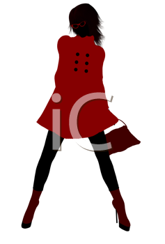 Royalty Free Clipart Image of a Girl in a Red Coat