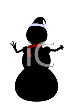 Royalty Free Clipart Image of a Black Snowman