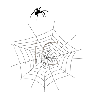 Royalty Free Clipart Image of a Spider and Web