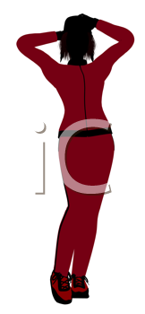 Royalty Free Clipart Image of a Woman in a Track Suit