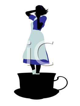 Royalty Free Clipart Image of an Alice in Wonderland Silhouette