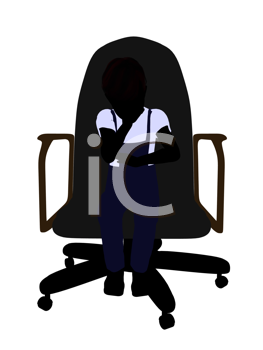 Royalty Free Clipart Image of a Little Boy Sitting in a Chair