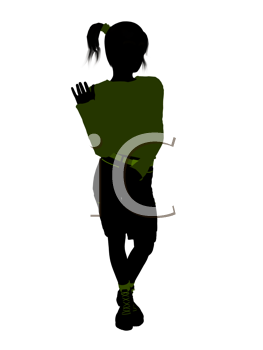 Royalty Free Clipart Image of a Girl Standing