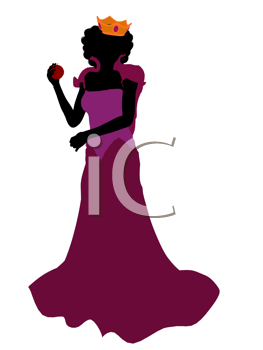 Royalty Free Clipart Image of an Evil Queen With an Apple