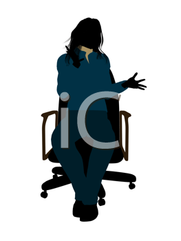 Royalty Free Clipart Image of a Young Woman in a Chair