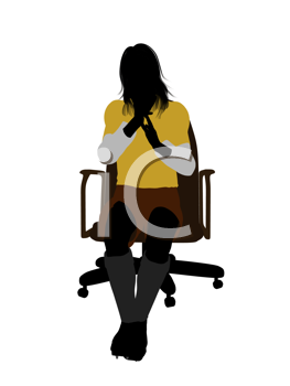 Royalty Free Clipart Image of a Female in a Football Uniform Sitting in a Chair