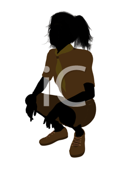 Royalty Free Clipart Image of a Girl Crouching