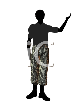 Royalty Free Clipart Image of a Man in Camouflage Pants