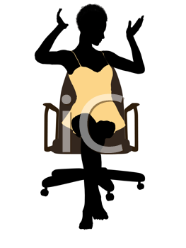Royalty Free Clipart Image of a Woman in Lingerie Sitting on a Chair
