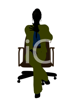 Royalty Free Clipart Image of a Woman Sitting in a Chair