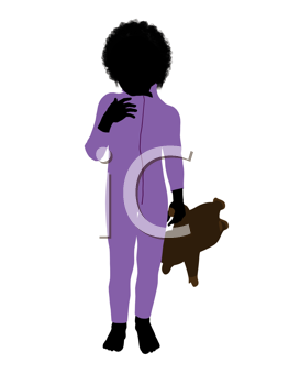 Royalty Free Clipart Image of a Little Boy With a Teddy Bear