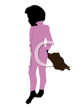 Royalty Free Clipart Image of a Boy With a Teddy Bear