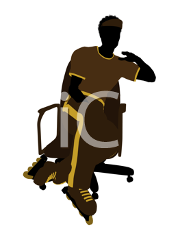 Royalty Free Clipart Image of a Man in Roller Skates on a Chair