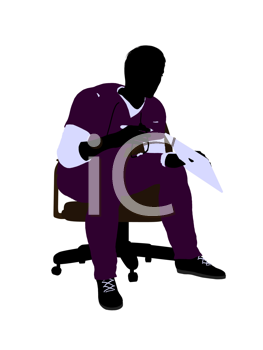 Royalty Free Clipart Image of a Doctor in a Chair