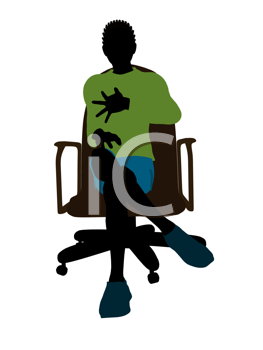 Royalty Free Clipart Image of a Boy in an Office Chair