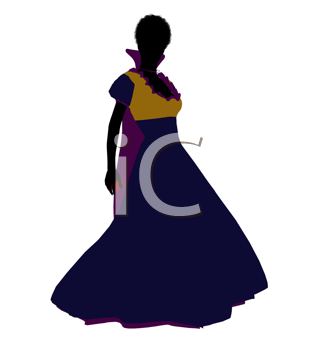 Royalty Free Clipart Image of a Woman in a Gown