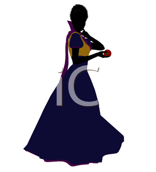Royalty Free Clipart Image of a Woman in a Gown Holding an Apple