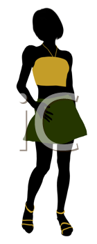 Royalty Free Clipart Image of a Girl in a Short Skirt