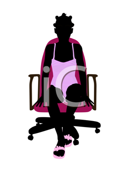 Royalty Free Clipart Image of a Girl in a Bathing Suit Sitting in a Chair