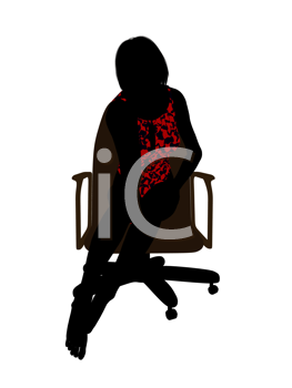 Female in a swimsuit sitting on an office chair illustration silhouette on a white background