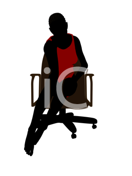 Royalty Free Clipart Image of a Woman Sitting on a Chair