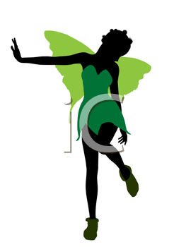 Royalty Free Clipart Image of a Fairy Silhouette