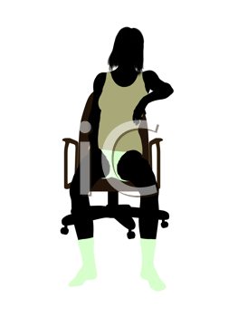 Royalty Free Clipart Image of a Woman Underwear Sitting in a Chair