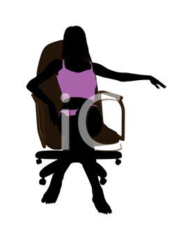 Royalty Free Clipart Image of a Silhouette Sitting in a Chair in Her Underwear