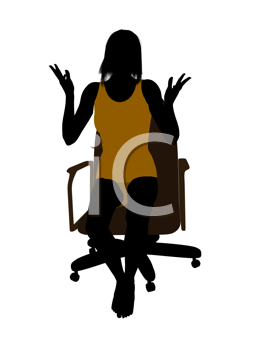 Royalty Free Clipart Image of a Woman in a Chair in Her Underwear