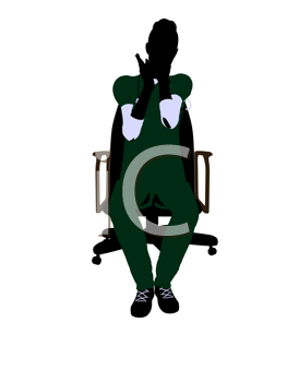 Royalty Free Clipart Image of a Female Doctor in a Chair
