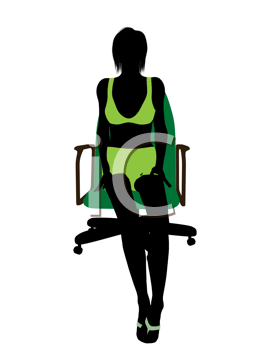Royalty Free Clipart Image of a Woman in Green in a Chair