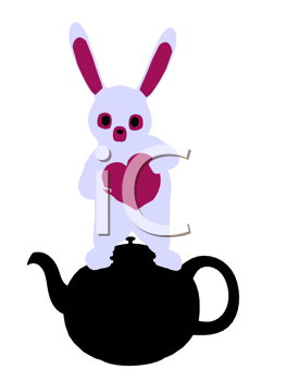 Royalty Free Clipart Image of a Rabbit in a Teapot