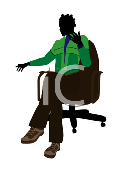 African american outdoor female sitting on an office chair silhouette on a white background