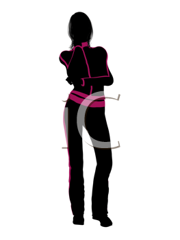 Female workout illustration silhouette on a white background