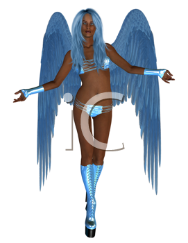 Royalty Free Clipart Image of a Blue Angel