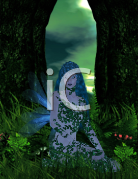 Blue fairy sitting in the forest