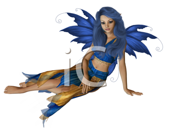 Blue and yellow fairy sitting down