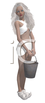Royalty Free Clipart Image of a Girl With a Pail