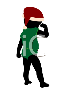 Royalty Free Clipart Image of a Baby in a Santa Hat