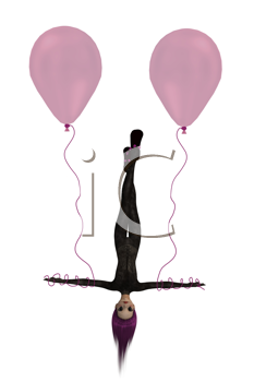 Royalty Free Clipart Image of a Trapeze Artist With Balloons