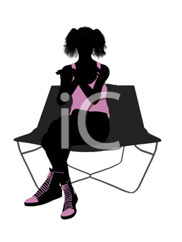 Royalty Free Clipart Image of a Girl on a Lounge Chair
