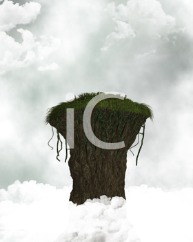 Royalty Free Clipart Image of a Cliff in the Clouds
