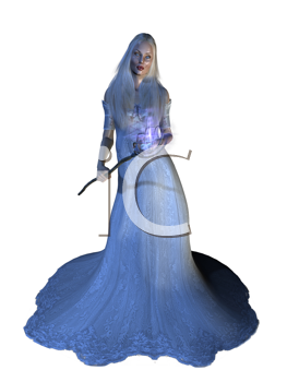 Royalty Free Clipart Image of a Woman Dressed in a Blue Gown