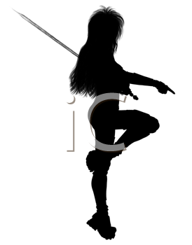 Royalty Free Clipart Image of a Female Silhouette Holding a Sword
